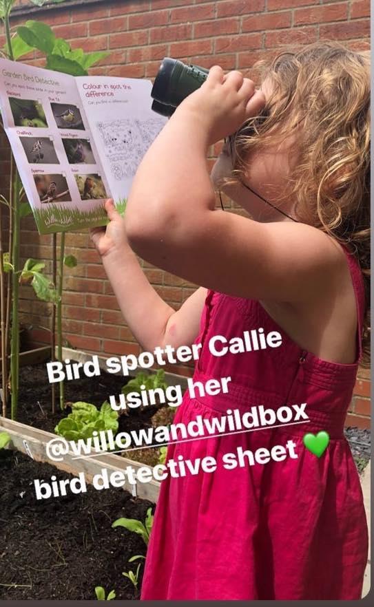 girl bird watching
