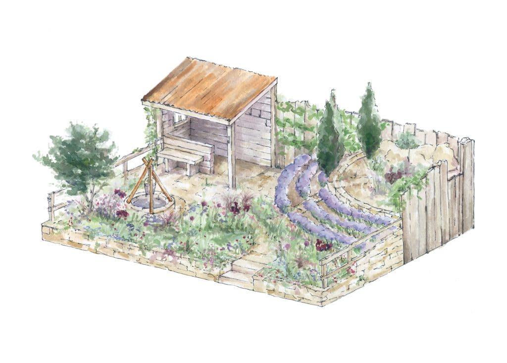 drawing of garden design